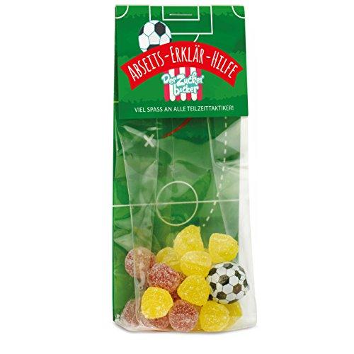 Abseits-Erklär-Hilfe, eine kleine Stütze für die Abseits-Fußball-Regel, 22 Fruchtsaftbeeren und ein Kaugummi-Fußball, verpackt in einem 30g Naschbeutel, cooles Geschenk für Fußballfreunde
