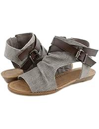 Highdas Mujer Sandalias Zapatos Peep Toe Romano Sandalias Plano Verano Fiesta Al Aire Libre Sandalias