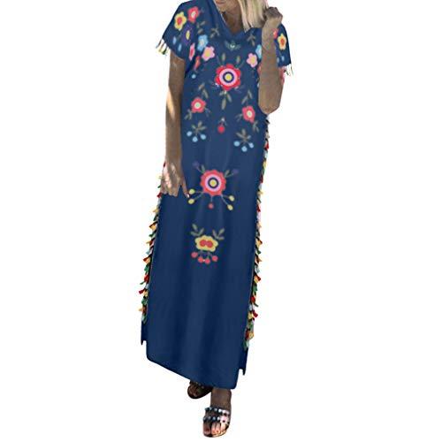 POPLY Frauen Langes Kleid Böhmischen Stil ärmellose Lose Blumen Gedruckte Quaste Lose Sommerkleid Plus Größe Strandkleider(Marine,4XL) (Rosa Und Lila Blumen Ballettröckchen Baby Kostüme)