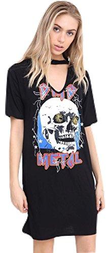 Momo&Ayat Fashions Damen Choker Hals Halloween Schädel Heavy Metal Bedruckt T-Shirt Kleid EUR 36-54 (3XL (EUR 52-54), Schwarz)
