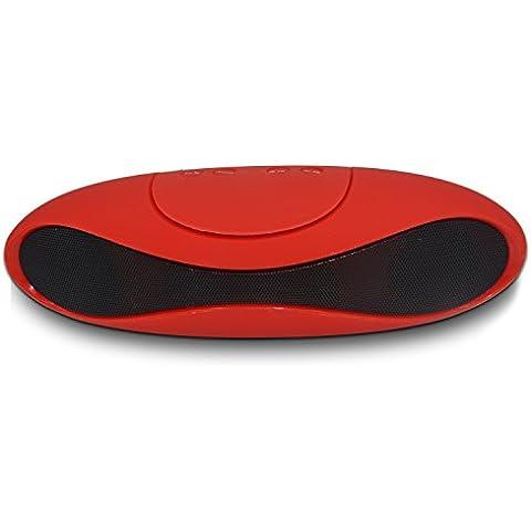 RG portátil inalámbrico Bluetooth altavoz subwoofer con un sonido estéreo nítido y una mayor respuesta de graves, compatible con los teléfonos móviles Laptop Tablet PC MP3 MP4, Rojo
