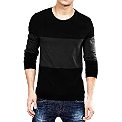 Leotude Men's Cotton T-shirt (Black, Medium)