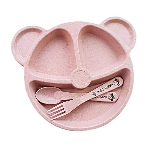 Bettying Kinder Teller Set Bär Kindergeschirr Kinderteller Unterteilt Tablett mit 3 Fächern Süß Haushaltsgeschirr zum Kinderfrühstück Servierplatte oder Snack-Container