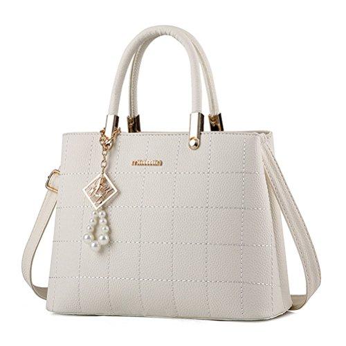Alidier Neue Marke und Qualität 2016 Neue Damen Shopper Ledertaschen Handtaschen Umhängetasche Schultertasche Tote Bag Weiß