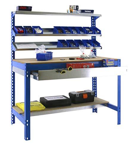 Banco trabajo BT1 cajón Simonwork Azul/Madera Simonrack