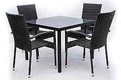 Idea Regalo - AVANTI TRENDSTORE - Arezzo small - Set da giardino in polirattan grigio, 4 sedie (dimensioni LAP 46x90x62 cm) e 1 tavolo con vetro nero (dimensioni LAP 90x74x90 cm)