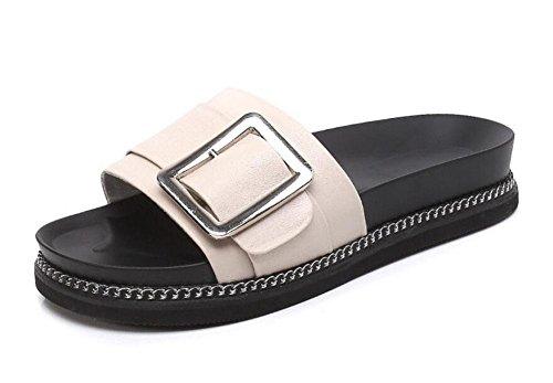 Donne Scarpe aperte Sandali Pantofole in pelle Femmina Estate 2017 Sandali spessi sottili Cintura Fibbia studenti piani Pantofole Catena di metallo Beach Shoes beige