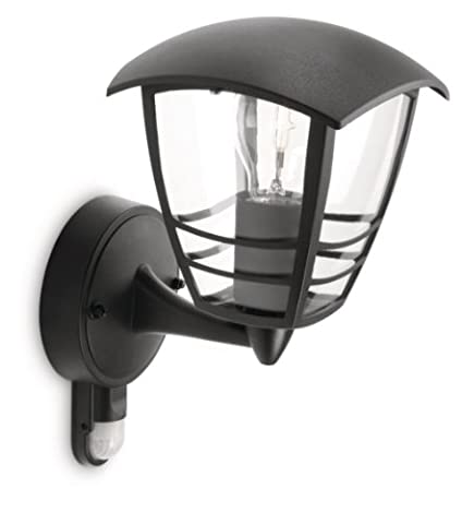 Philips MyGarden Creek Outdoor Wall Light with Motion Sensor (Requires 1 x 60 W E27 Bulb) - Black