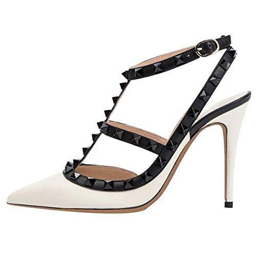 EKS Damen Middle Heels Spitz Lackleder Schnalle Kleid-Usual Spikes PumpsSchwarz-Weiß-Matt 38 EU (14 Schuh Spike Heel)