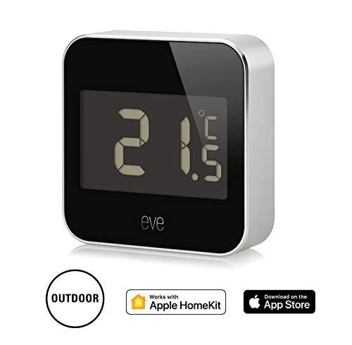 Eve Degree - Station météo connectée, température, du taux d'humidité et de la pression atmosphérique, avec indice d'étanchéité IPX3, écran LCD et Bluetooth Low Energy
