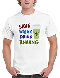 YaYa CafeHoli Tshirt Save Water Drink Bhaang Mens Holi T-shirt White Dri-fit