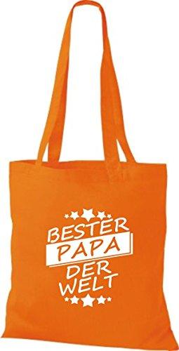 ShirtInStyle Stoffbeutel Baumwolltasche Bester PAPA der Welt orange