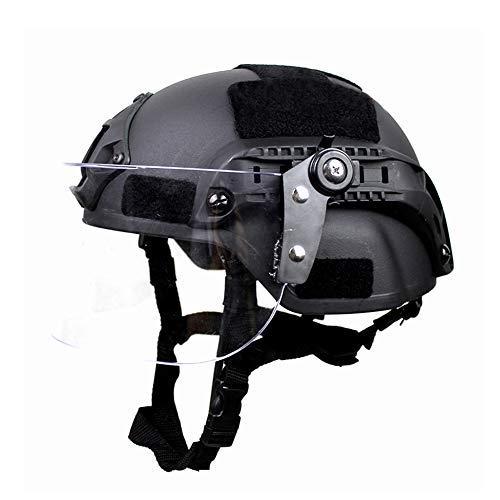 Wtter Taktische Leichte Militärische Schnelle Helm MICH2000 Mit Sonnenschutzbrille Version Luftgewehr Im Freien Paintball CS Schutzausrüstung (Schwarz)