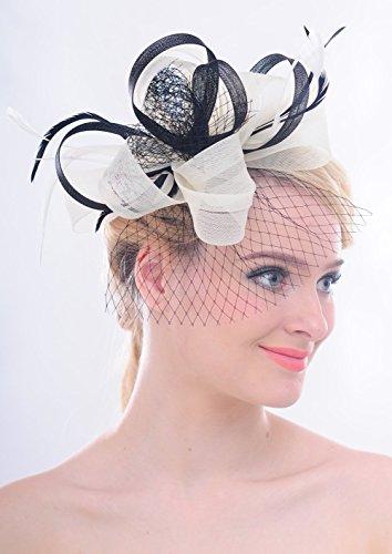 Mariage ?Ruban ¨¤ boucles voile filet Plume Pince ¨¤ cheveux Fascinator Kentucky Derby Cocktail Chapeau Ivoire