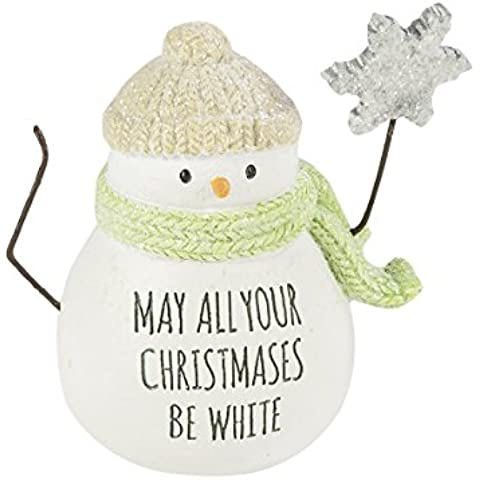 Pascoli Road Città Sidewalks Mini statuetta pupazzo di neve natalizio, White (Snowflake Accenti)