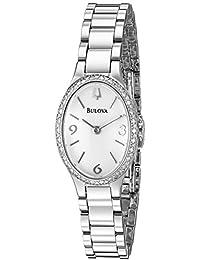 Bulova Diamond Analog White Dial Women's Watch - 96R191