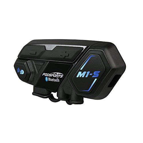 Motorrad Bluetooth Headset Intercom Kommunikation Systeme, Unterstützt 8 Gruppen Team, Freisprechanruf mit MIC für Moto Skiroller (M1S, Single)