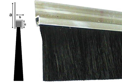 Bürstendichtung 50mm Borsten (dichter PU Besatz), Länge 1000mm/100cm/1m, Aluminium-Profil 25mm, schwarz, Tür Streifenbürste Türbürste Türdichtung Türbesen Torbürste Torbesen