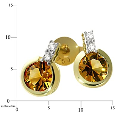 Goldmaid Women's Earstuds Yellow Gold two yellow Citrin 14ct