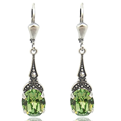 Jugendstil Ohrringe mit Kristallen von Swarovski Grün Silber NOBEL SCHMUCK