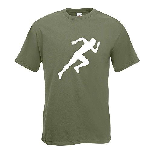 KIWISTAR - Läufer Marathon Sprint T-Shirt in 15 verschiedenen Farben - Herren Funshirt bedruckt Design Sprüche Spruch Motive Oberteil Baumwolle Print Größe S M L XL XXL Olive
