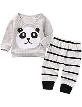 Amlaiworld Baby niedlich Panda drucken sweatshirt warm Winter gestreift hose langarm pullis Bekleidungssets,0-...