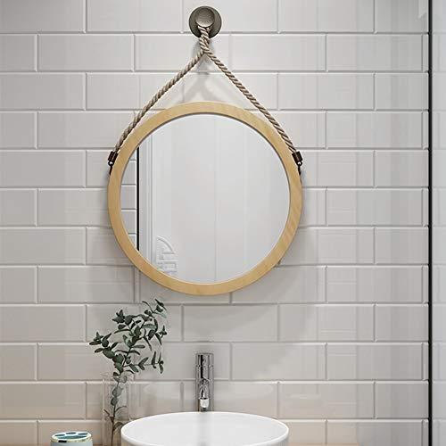 Vintage Kostüm Hollywood - Mirror Spiegel Runde Badezimmer Wand hängenden Spiegel, an der Wand montierten Kosmetikspiegel, Vintage Hanfseil Dekoration, natürlichen Holzrahmen, einfachen Stil LITL (Color : 50cm)