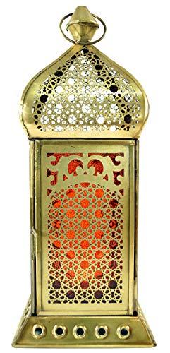 che Messing/Glas Laterne in Marrokanischem Design, Windlicht, Orange, Farbe: Orange, 25x10x10 cm, Orientalische Laternen ()