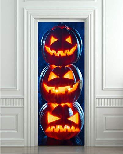 JHSM Türtapete Selbstklebend 3D Gasse Durchgang Straße Romantisch Tapete DIY 3D Wandaufkleber Wandhauptdekor Kürbisse Halloween Art Removable95 * 215Cm (Halloween-kürbisse Zum Verkauf)