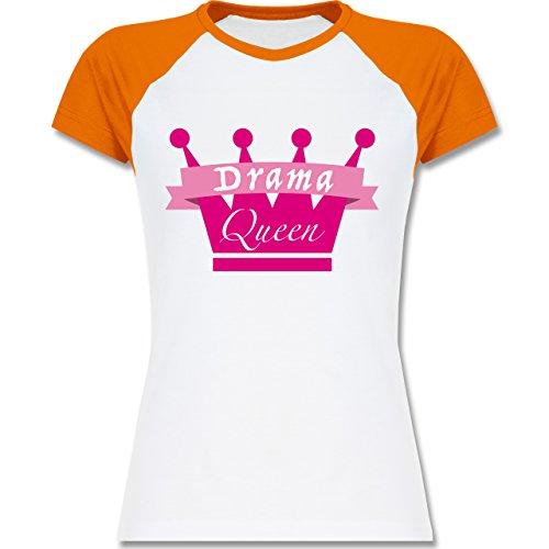 Typisch Frauen - Drama Queen - zweifarbiges Baseballshirt / Raglan T-Shirt für Damen Weiß/Orange