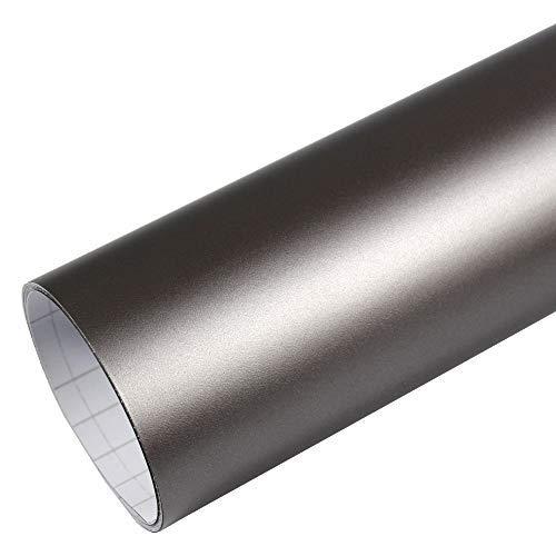 Rapid Teck® 5,26€/m² Premium - Matt Silber Grau 1m x 1,52m Auto Folie Blasenfrei mit Luftkanälen für Auto Folierung und 3D bekleben in Matt Glanz und Carbon Autofolie