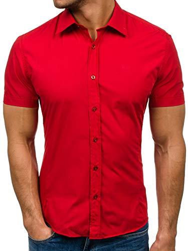 BOLF Herren Kurzarm Hemd Elegant Figurbetont Unifarbe Basic Slim Fit 7501 Rot L [2B2]