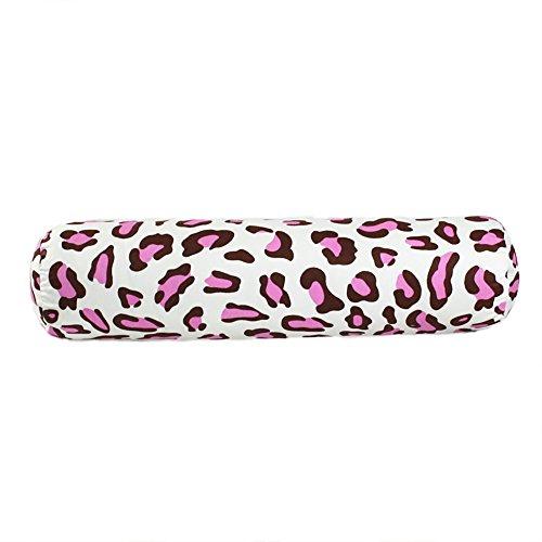 Nunubee Rosa Leopard Schwangerschafts Feder Baumwolle Zylindrisch Kissen Weiche Nackenrolle Kopfkissen Süßigkeit Geformtes Kissen Lendenkissen, 15X60cm