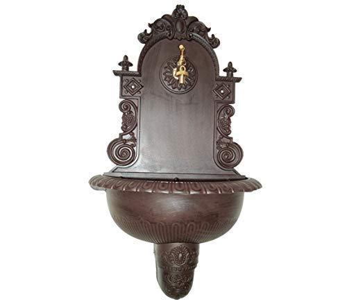 linoows Großer Nostalgie Wandbrunnen, Brunnen Alu Guss, Anik-Braun Wetterfest 80 cm