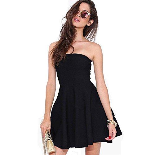 Backless Kleider des Sommers der Frauen Art und Weise reiz abspecken schwarzes Rohr nach oben Kleid Rock , l (Print-rohr-maxi Kleid)