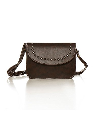 sourcingmap® Damen verstellbar Armband Bolzen Dekoration PU Kreuzkörper Tasche rote Farbe Brown