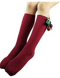 SMARTLADY - Calcetines hasta la rodilla algodón cereza calcetines lindos para bebé niñas