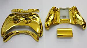 Xbox 360 Chrome Gold Replacement Controller Shell with Battery Pack and bumpers