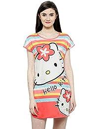 N-Gal Hello Kitty Cartoon Print Orange Short Sleeves Sleep Shirts Loungewear Sleep Tee Nightwear
