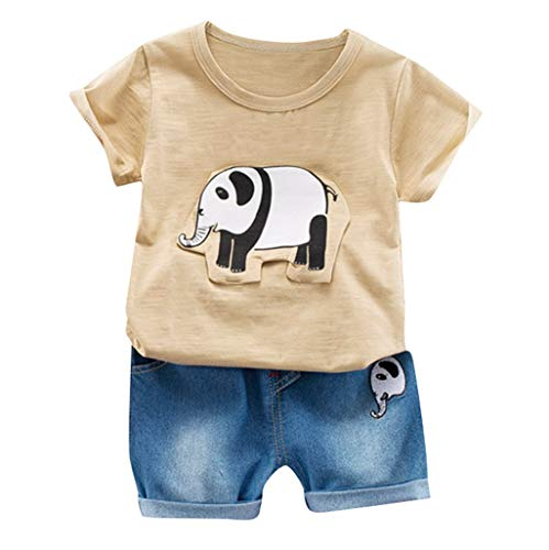 ung Set Kinder Baby Cartoon Elefant Kurzarm Shirt + Shorts Anzug Zweiteilige Kindertagesgeschenk ()