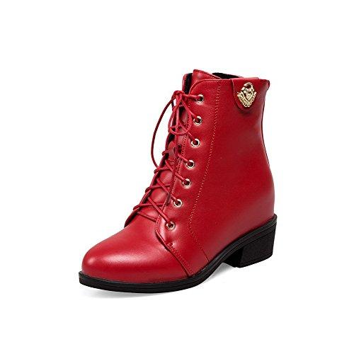 VogueZone009 Damen Blockabsatz Rein Rund Zehe Reißverschluss Stiefel mit Metallstück Rot