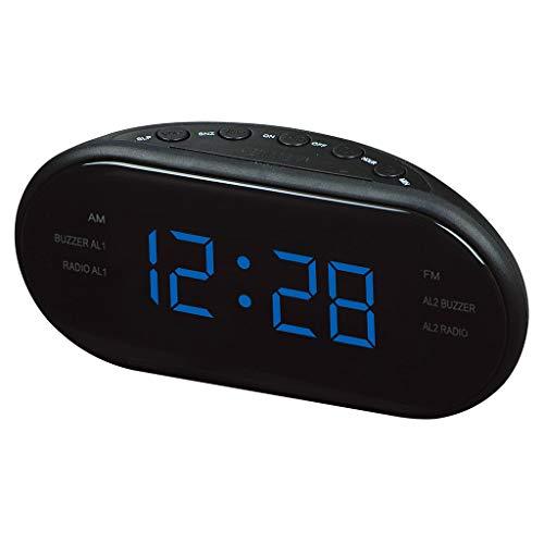 ZHJ-Alarm clock Wecker Radio LED Wecker Digital Wecker mit AM und FM Dual Channel Multi-Gruppe Wecker Schlaf Timer Reisen Kreative Business Geschenk Schwarz