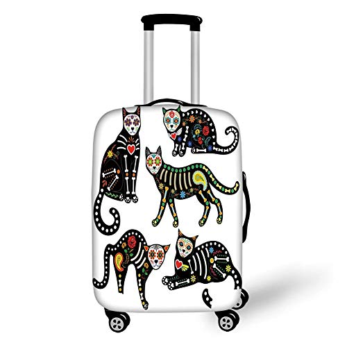 Travel Luggage Cover Suitcase Protector,Sugar Skull Decor,Calavera Ornate Black Cats in Mexican Style Holiday The Day of The Dead Decorative,Multicolor,for Travel S (Marvel Black Hot Cat)