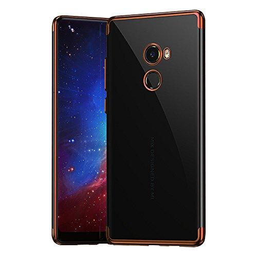 BLUGUL Funda Xiaomi Mi Mix 2, Electroplating Coloring, Ultra Fina, Transparente Suave TPU Silicona Cover Claro Case para Xiaomi Mix 2 Oro Rosa