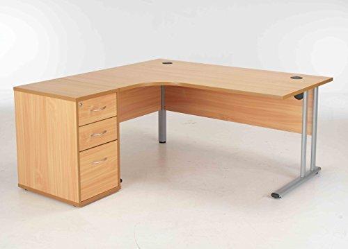 BiMi 1600mm Beech Ergonomic Left Hand Corner Beech Desk With 3 Draw Desk High Pedestal