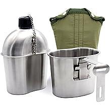 Latinaric 1 QT portatile bottiglia d'acqua in acciaio inox militare Mensa con 0.5QT Coppa Borsa Verde sport esterno di escursione di campeggio di viaggio