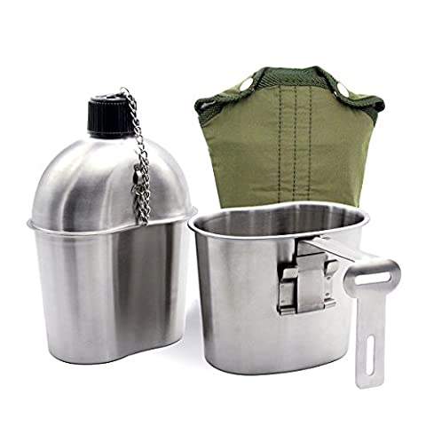 Latinaric 1QT Portable Water Bottle Stainless Steel Military Canteen with 0.5QT Cup Green Bag Outdoor Sport Camping Hiking