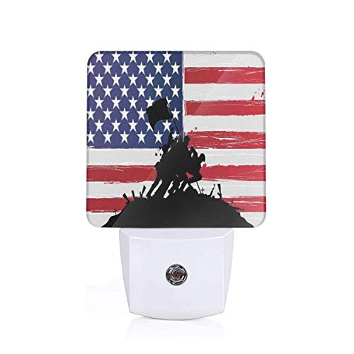 Bless America Silhouettes Of American USA Flag Background Valor Patriot Theme Picture Plug-in LED Night Light Lamp with Dusk to Dawn Sensor, Night Home Decor Bed Lamp -