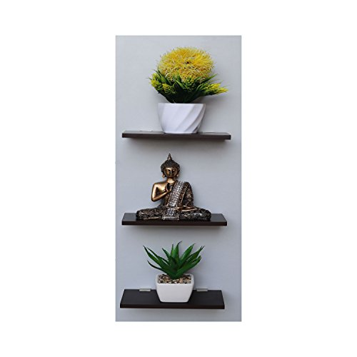 Captiver Display Wall Dã©Cor MDF Shelf Wenge Set Of 3 (10X20 cm)