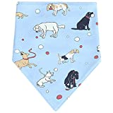 Wimagic 1x Baby Dribble Bibs Boys and Girls Drool Bibs Cute Cartoon Dog Pattern Double Layer Absorbent Soft Cotton Bandana Triangle Towel for Infants Toddlers Baby Gift (Blue)